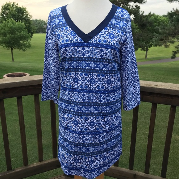 bc78a39653 Lands' End Swim | New Lands End Tunic Cover Up Majolica Blue L ...